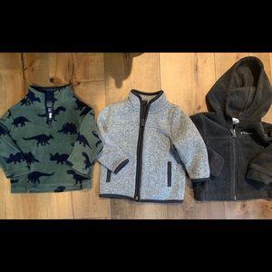 Set of 3 baby boy zip-up sweatshirts, 12-18 month